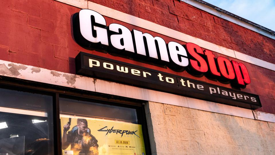 GameStop logo is seen at one of their stores in Athens.