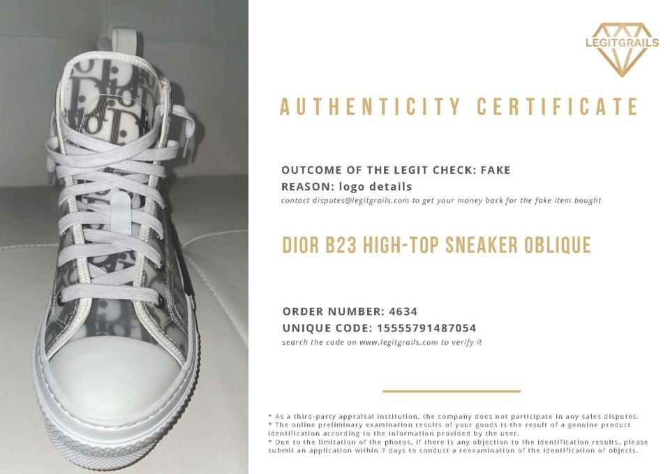 Certificate that the sneakers are fake with an image of the sneaker.
