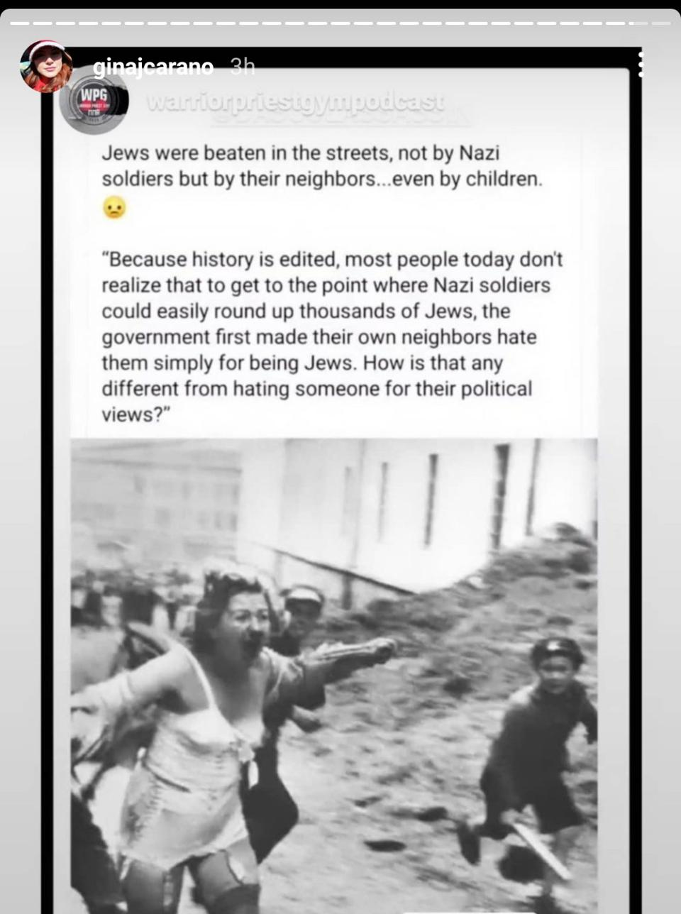 Gina Carano implied in a now deleted post on Instagram that being a Republican today is like being a Jew in Germany in the days before the Holocaust.