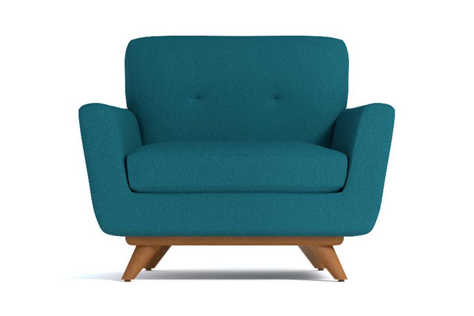 Carson chair in teal with wood legs