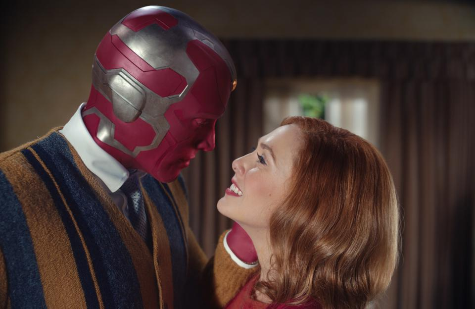 (L to R): Paul Bettany as Vision and Elizabeth Olsen as Wanda Maximoff in Marvel Studios' 'WandaVision″ on Disney+.