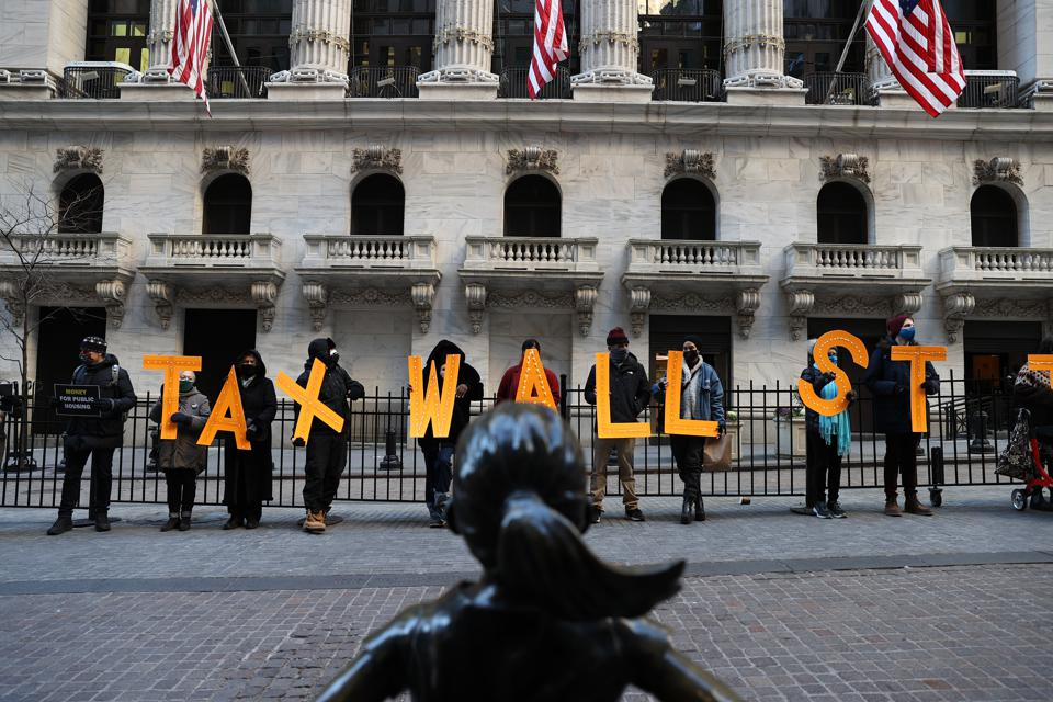 A dozen of demonstrators gather at Wall Street in NYC