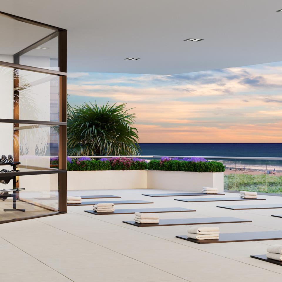 Private yoga terraces on the beach at Amrit resort hotel