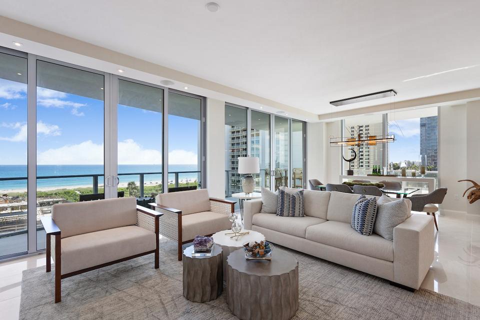 Amrit Ocean Resort & Residences, Singer Island luxury real estate living room on the beach
