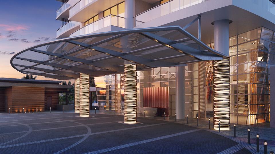 High rise luxury real estate entrance at Amrit Ocean Resort & Residences