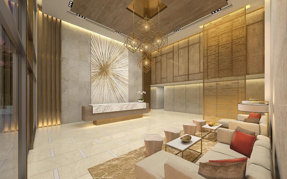 Luxury real estate hotel lobby at Amrit Ocean Resort & Residences, Singer Island