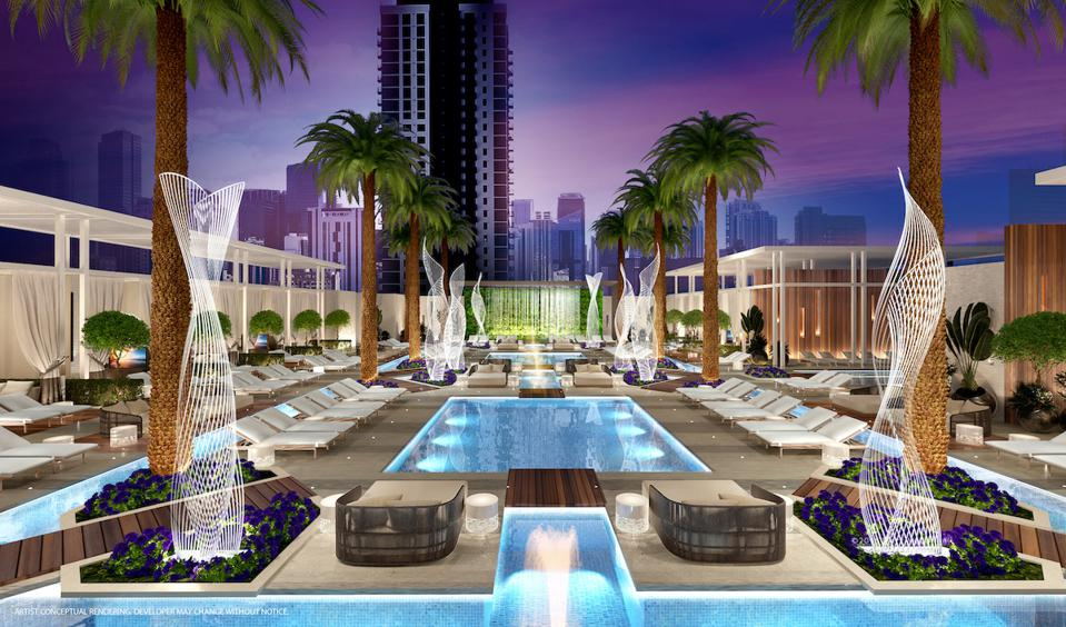 Outdoor luxury pools at hotel in Miami