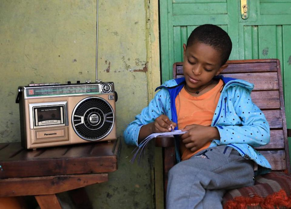 Children in Ethiopia attend school via radio through a program developed by the Ministry of Education with support from UNICEF.