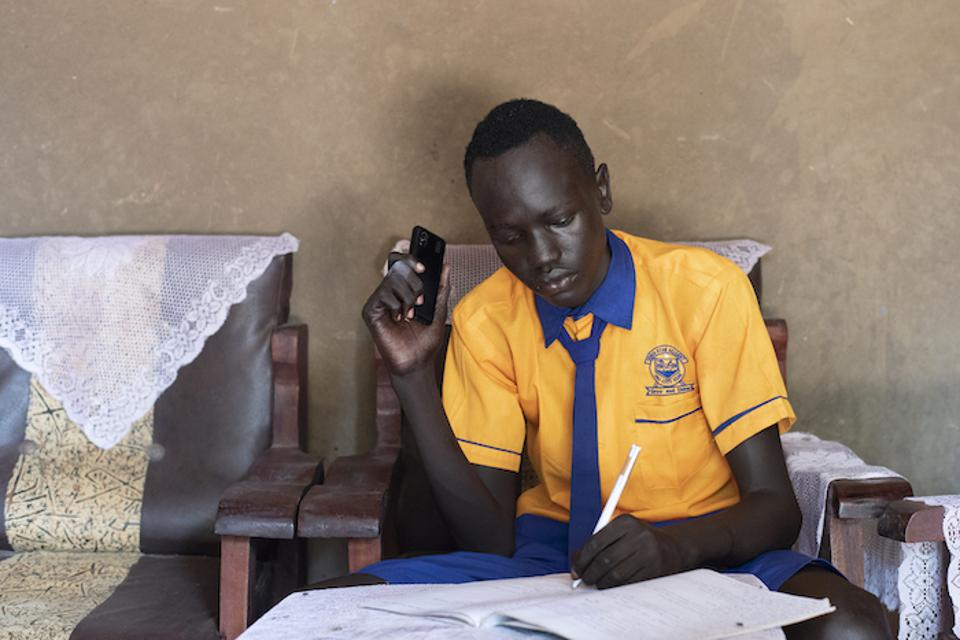 Students in South Sudan are also tuning in to radio lessons, some via mobile phone.