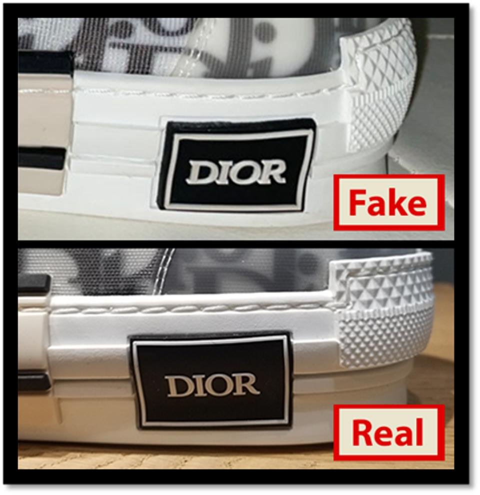 The fake Dior shoe bought on The RealReal next to the real Dior shoe.