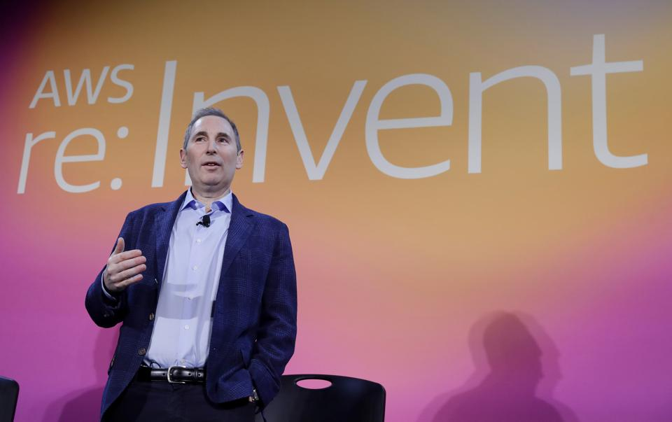 In this Dec. 5, 2019 photo, AWS CEO Andy Jassy discusses a new initiative with the NFL.