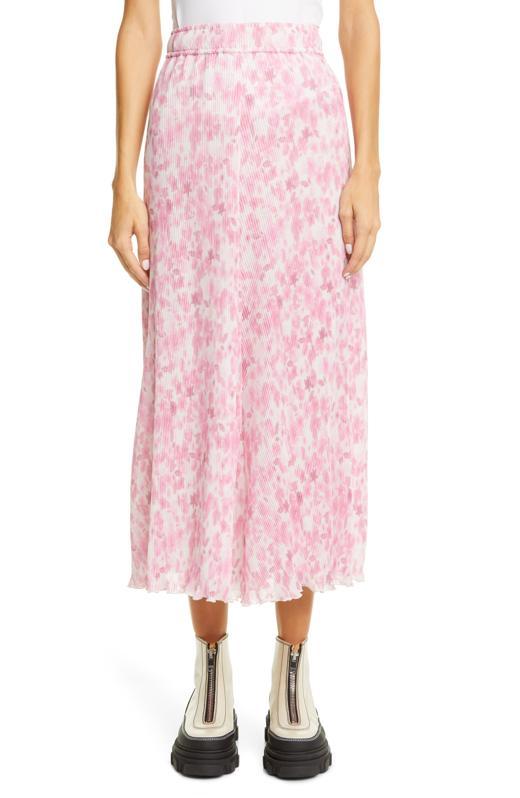 Ganni Floral Plissé Pleated Georgette Skirt