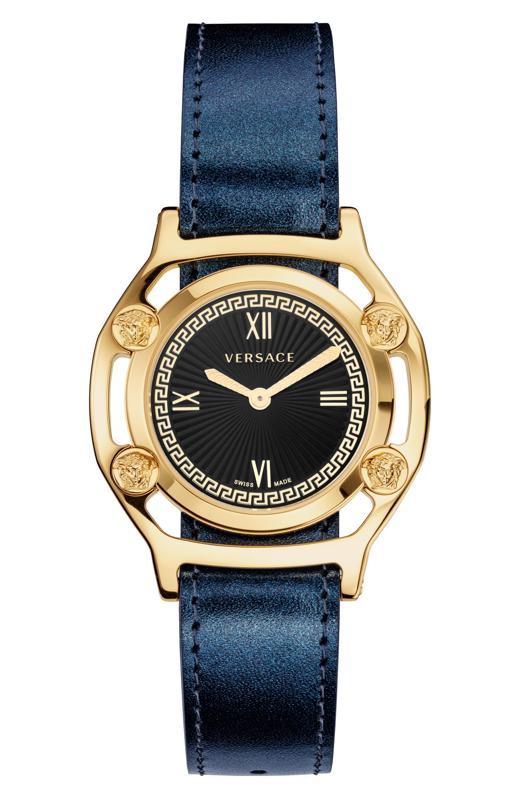 Versace Medusa Frame Leather Strap Watch, 36mm