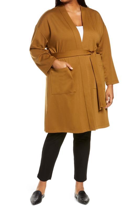 Eileen Fisher Belted Flex Ponte Knit Long Jacket (Plus Size)