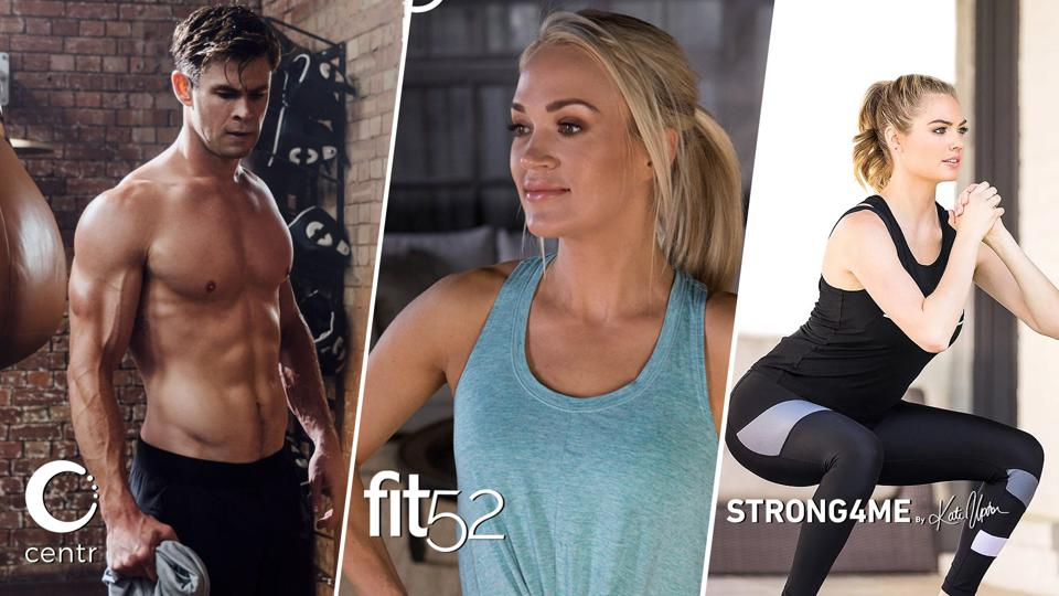 Chris Hemsworth & Centr (left), Carrie Underwood & Fit52 (center), Kate Upton & Strong4Me (right)