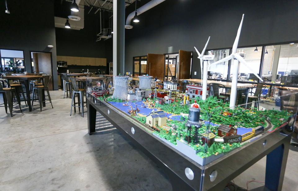 A lego city powered by ICS at the Dragos office.