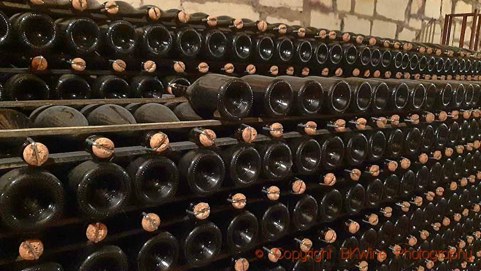 Bottles aging in the cellar at Champagne Domaine Vincey