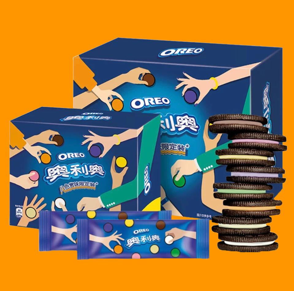 Oreo Cookie Multi-Flavor Line With Colorful fillings In China, Developed With Tmall Innovation Center.  Flavors Include Hot Chicken Wing and Wasabi