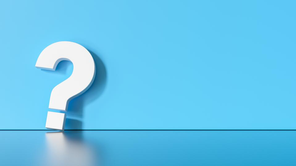 White question mark on blue background with empty space on left side. 3D Rendering