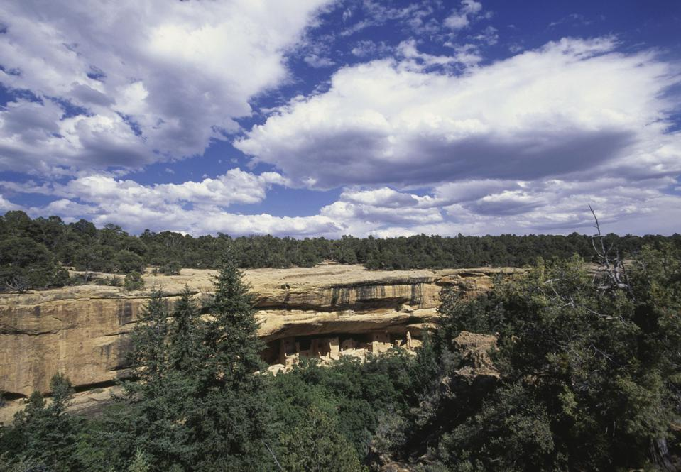 Spruce Tree House is one of the cliff dwellings at Mesa Verde National Park in Colorado