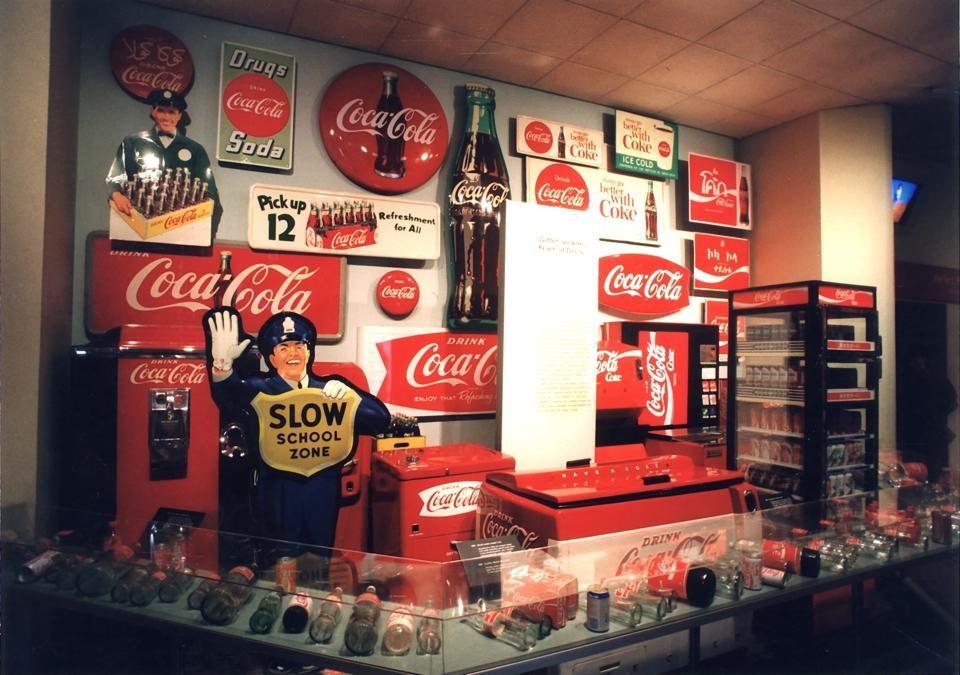 Memorabilia is on display at the Coca-Cola Museum in Atlanta, Georgia