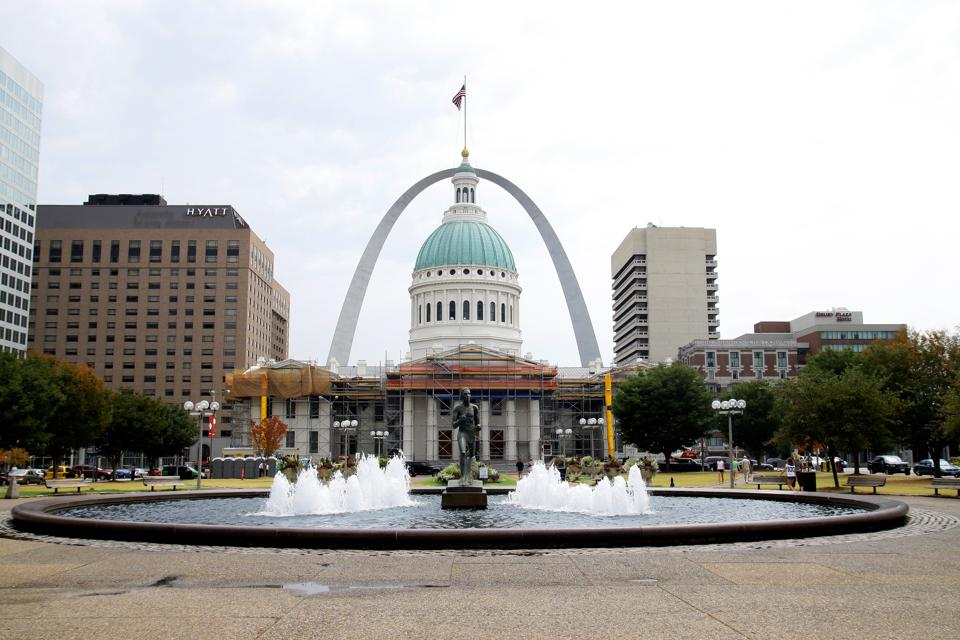 The Gateway Arch is a highlight of the skyline in St. Louis, Missouri