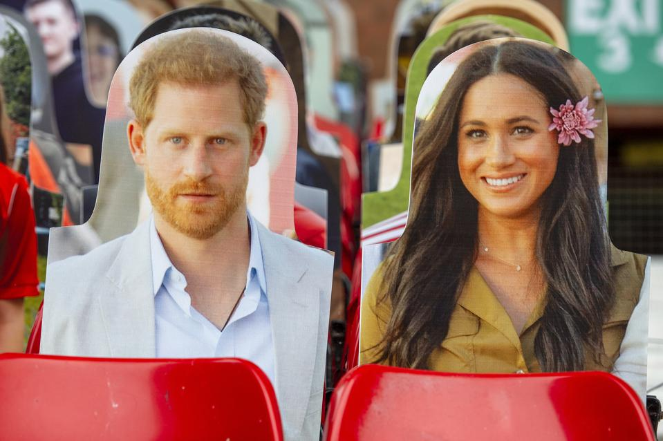 Prince Harry, Duke of Sussex and Meghan, Duchess of Sussex cardboard cut outs.