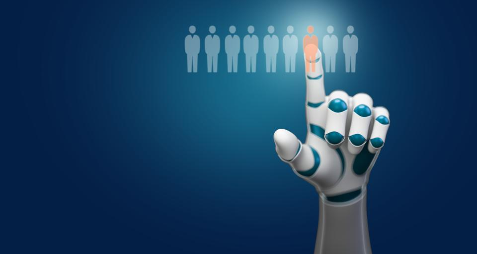 robot hand selecting a person symbol out of many - 3d illustration