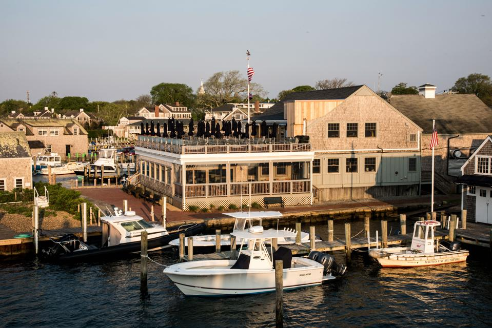 Boats are docked in Edgartown harbor, Marthas Vineyard, Massachusetts