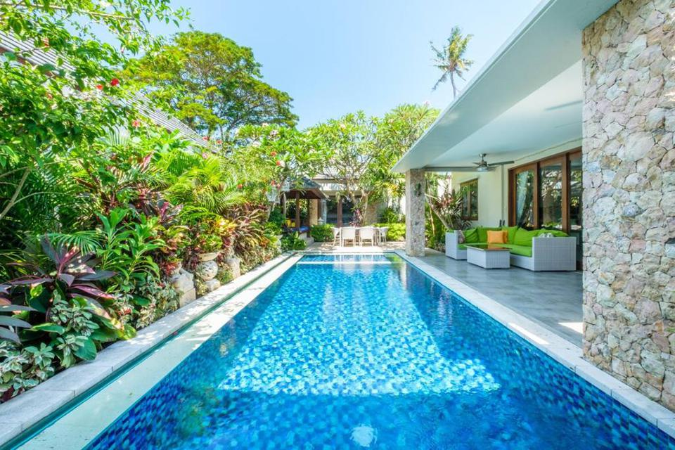The pool at a rental home located in Bali.