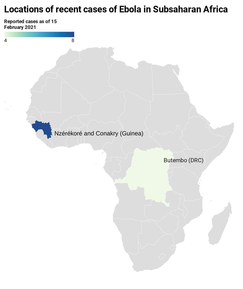 Location of recent cases of Ebola in Africa