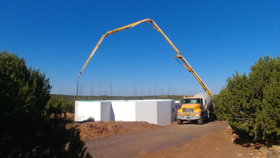 Pouring the walls in an ICF house