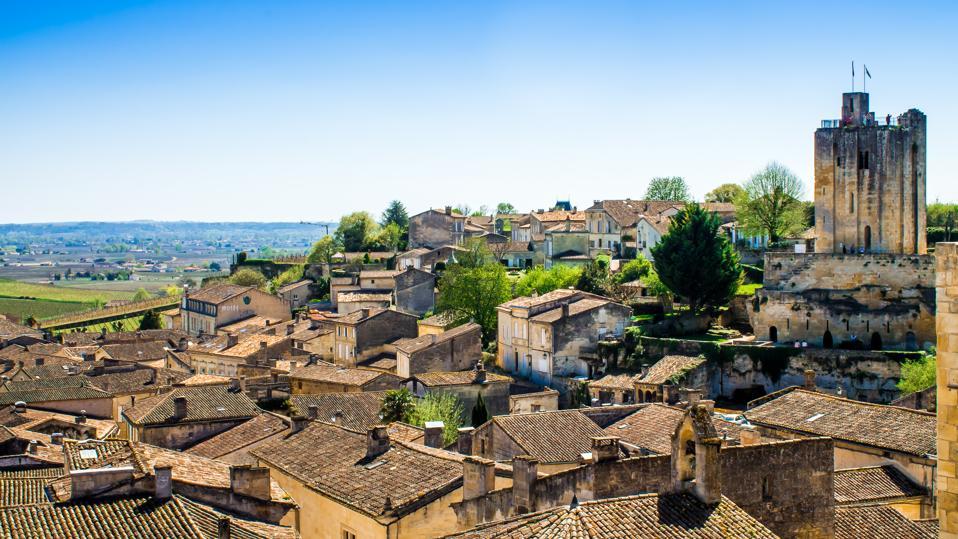 Panoramic view of Saint-Emilion near Bordeaux, France