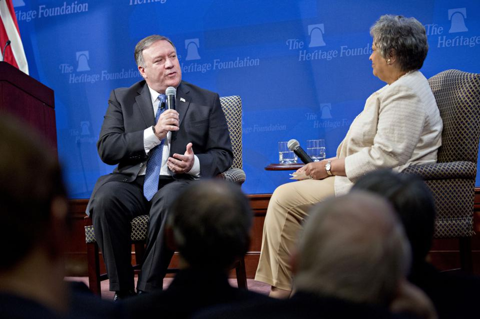 Secretary Of State Mike Pompeo Delivers Speech At The Heritage Foundation