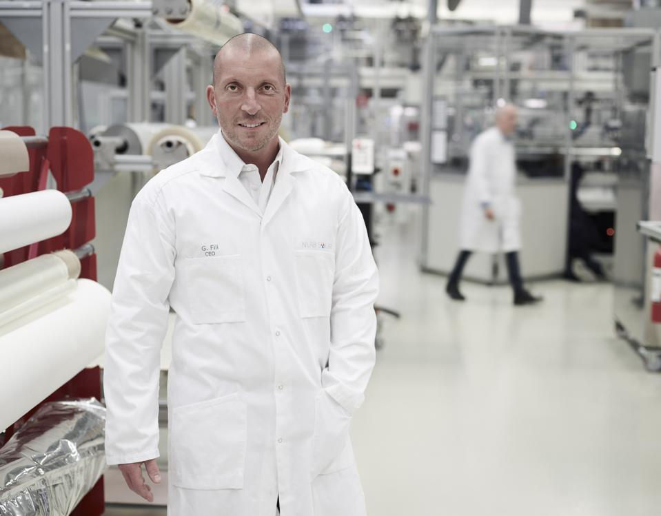 CEO Giovanni Fili in Exeger's factory in Stockholm