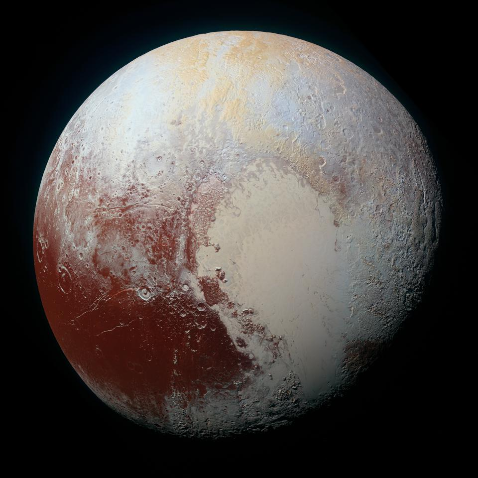 Enhanced color global view of Pluto, taken when NASA's New Horizons spacecraft was 280,000 miles (450,000 kilometers) away.