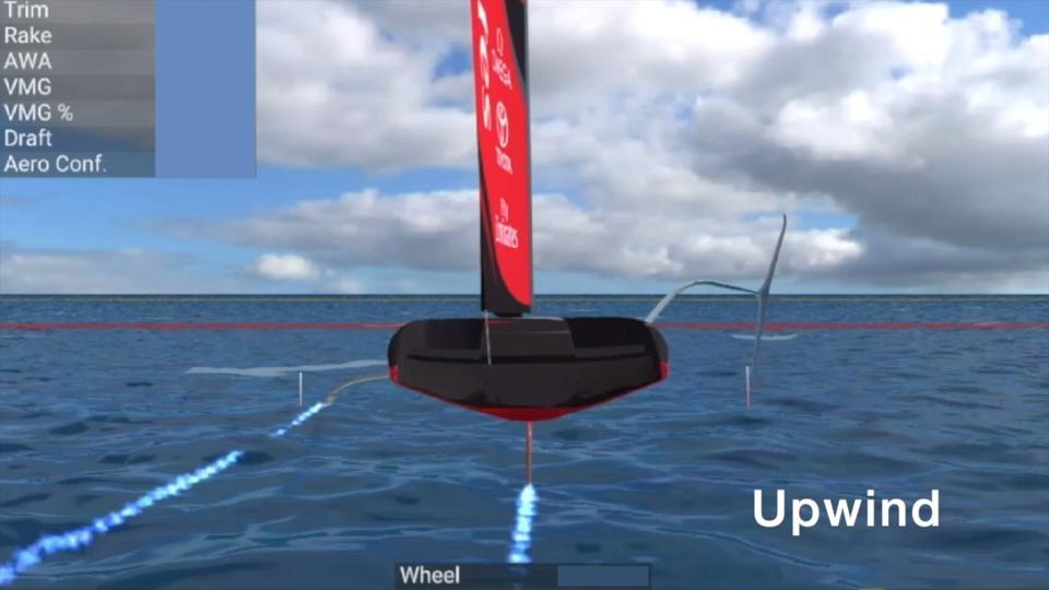 McKinsey digital twin sails the Emirates Team New Zealand's boat in Gomboc, Emirates