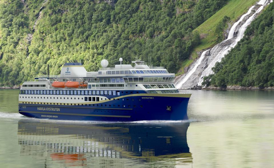 Illustration of a new Havila Kystruten ship to sail the Norwegian coastline.