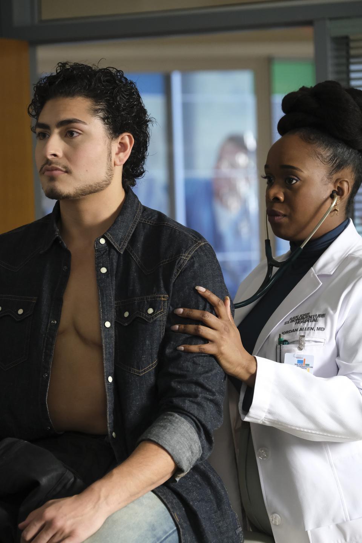 Emmet Preciado, left, guest stars as Rio Gutierrez, a trans man who is being examined by Dr. Jordan Allen, played by Bria Henderson.