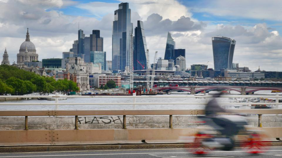 View Of City Of London Skyline from Waterloo Bridge. Buildings include St Paul's Cathedral, Leadenhall Building and 20 Fenchurch Street.