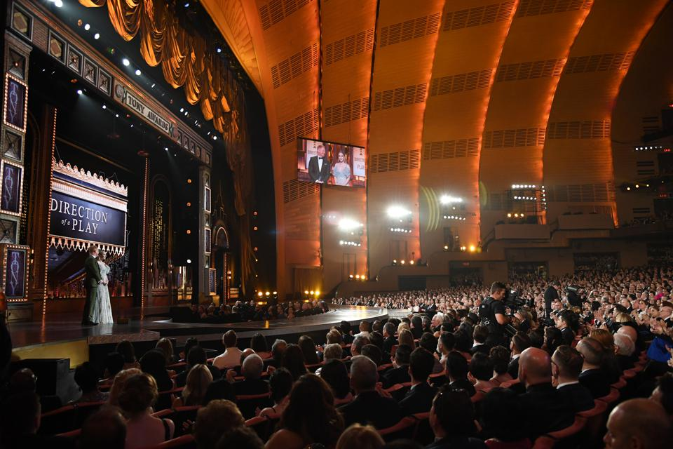 Jesse Tyler Ferguson and Rachel Brosnahan presenting an award during the Tony Awards