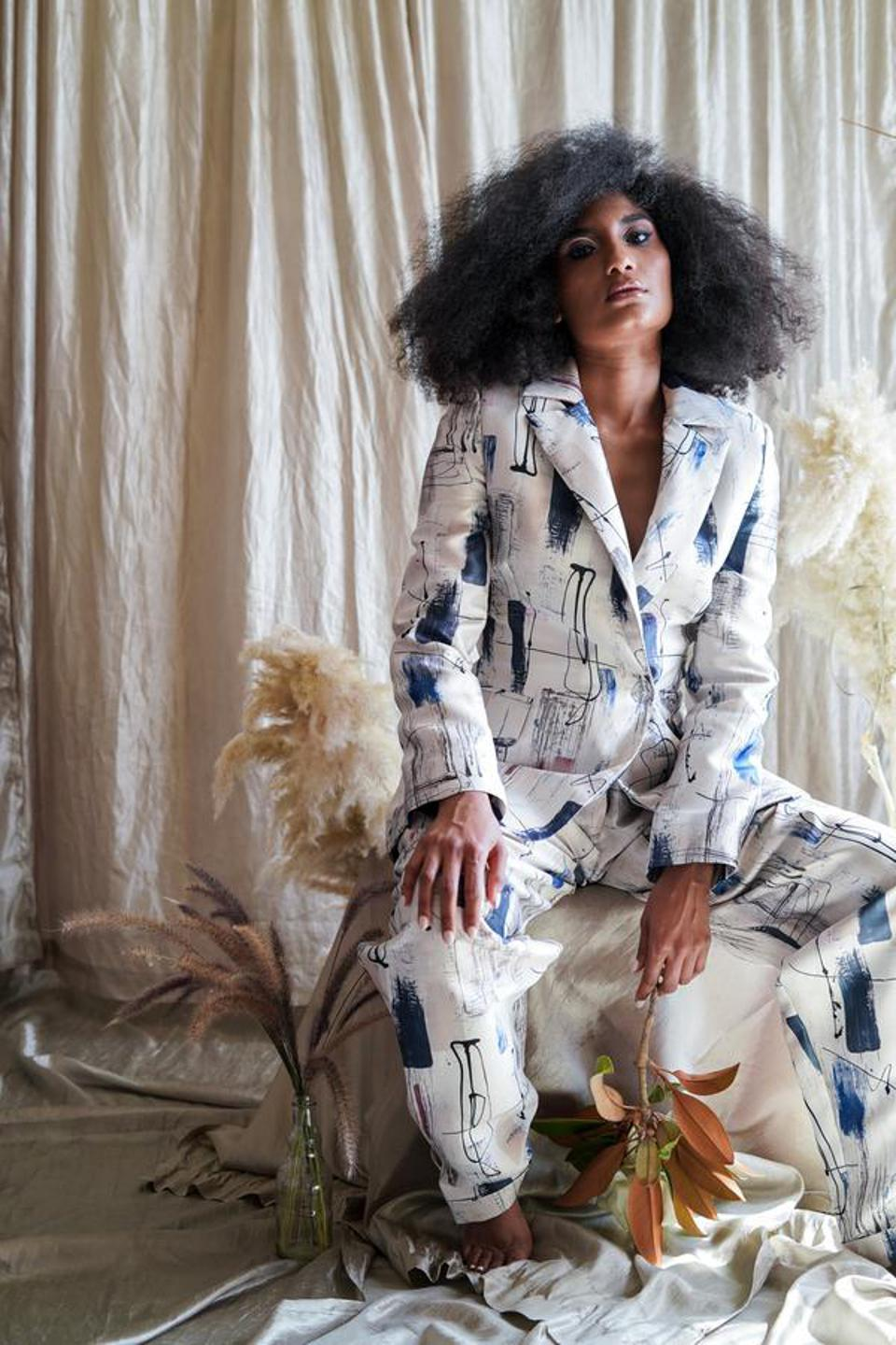 A double-breasted abstract suit by designer Nicole Shante.