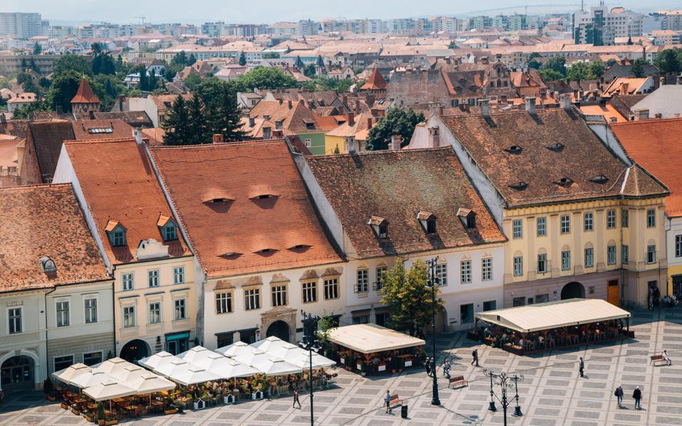 Piata Mare Large Square from Council Tower in Sibiu, Romania