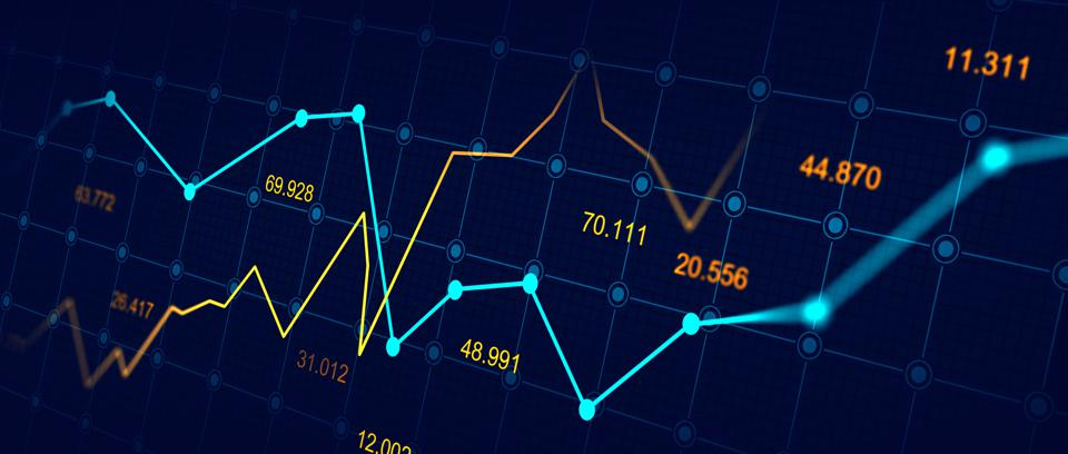Stock market or forex trading graph