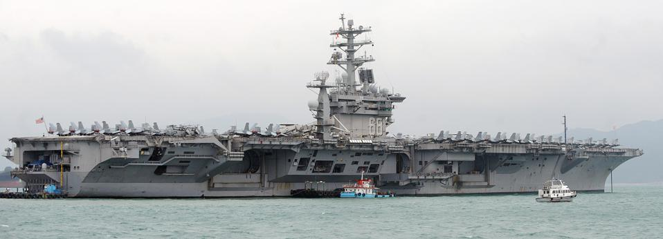 The aircraft carrier USS Nimitz is berth
