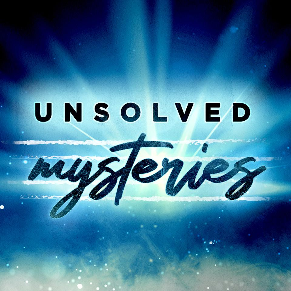 A blue and black colored poster with the title of the podcast 'Unsolved Mysteries'