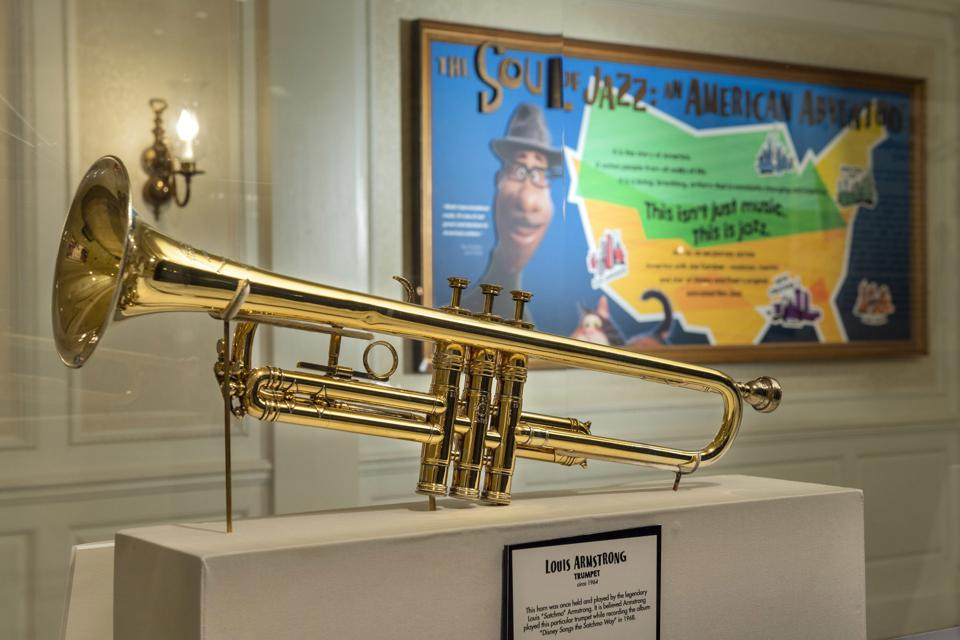 A gold trumpet played by Louis Armstrong.