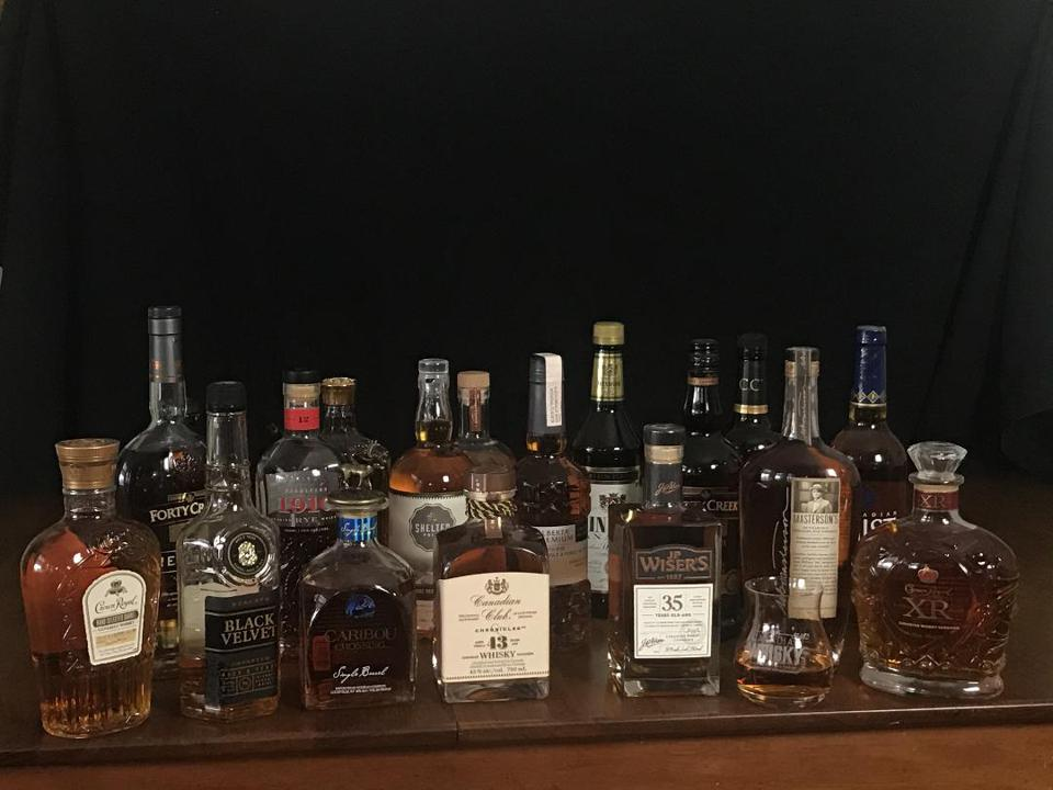 An assortment of Canada's leading whisky brands
