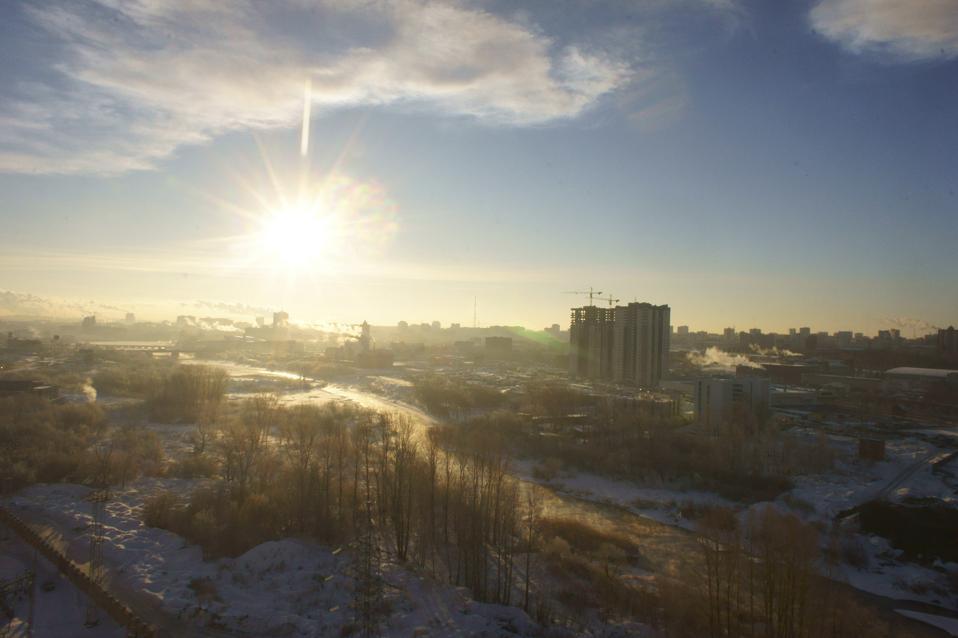 Russland, Tscheljabinsk, Wolke nach dem Niedergang eines Meteoriten