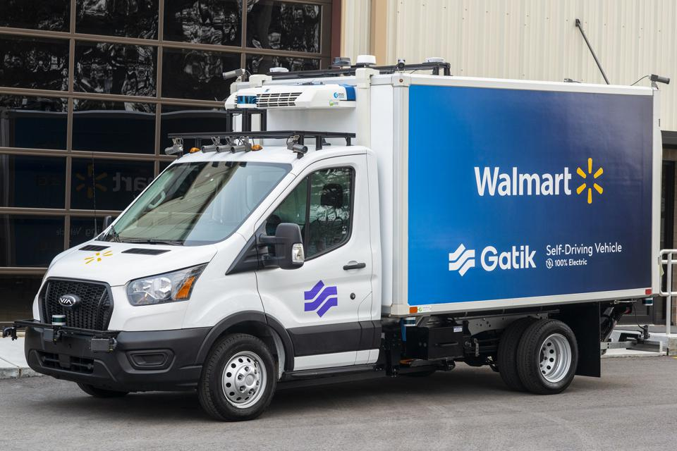 Gatik automated box truck. Gatik is about to deploy its first electric automated delivery vehicles using powertrains from Via Motors